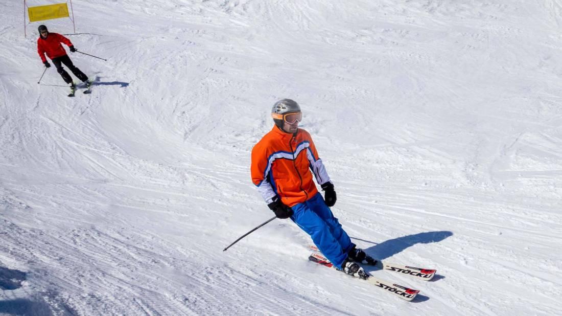 Skifahrer Weisshorn Piste Arosa