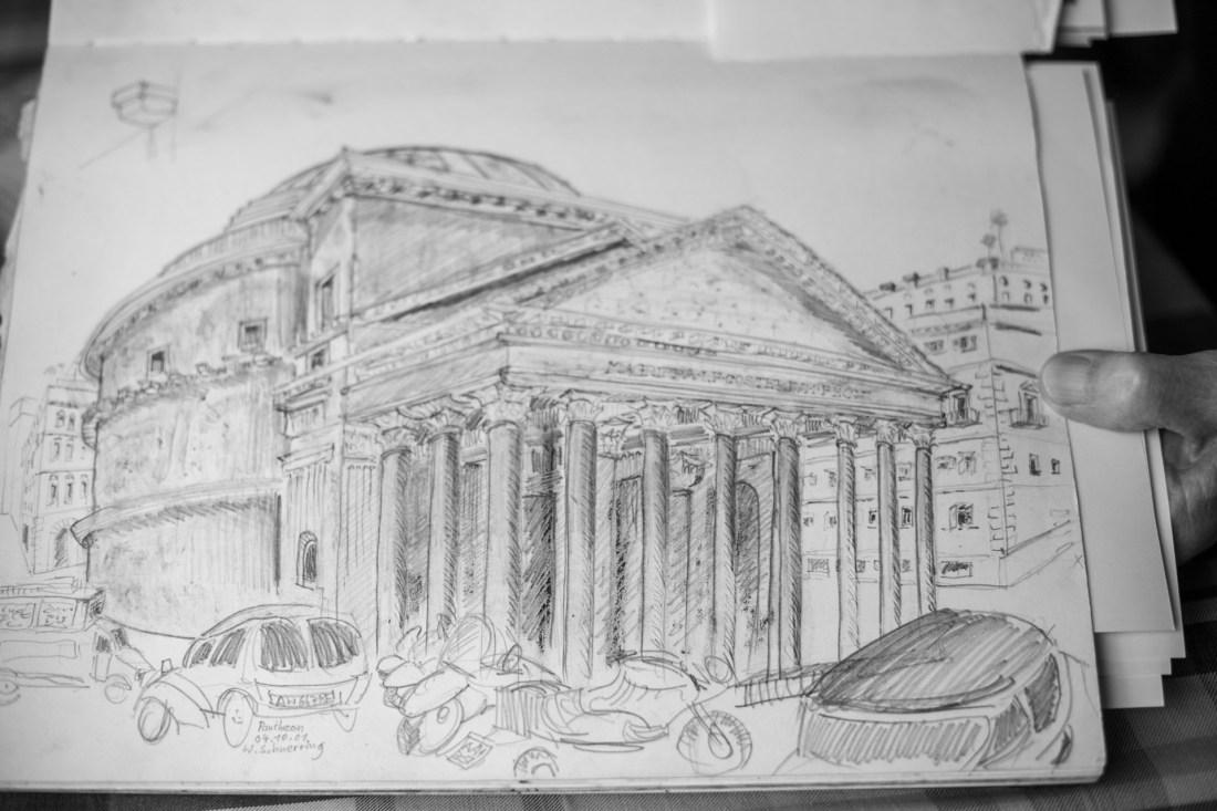 Das Pantheon - Zeichnung, Künstler Studie