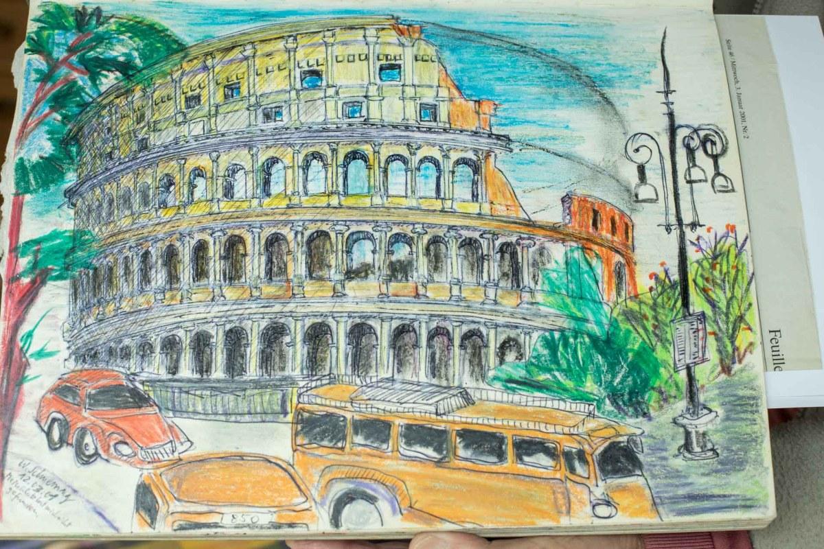 Das Collosseum, gezeichnet von Walter Schnerring anlässlich einer seiner Studienfahrten nach Rom im Jahr 2001