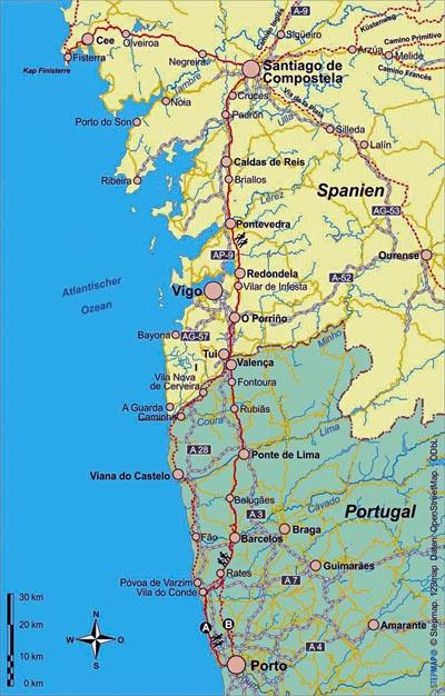 Jakobsweg von Porto nach Santiago di Compostela