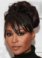 black hairstyles updos with bangs