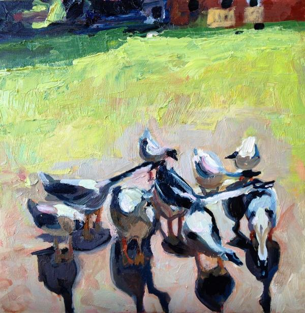 African Geese Oil Painting