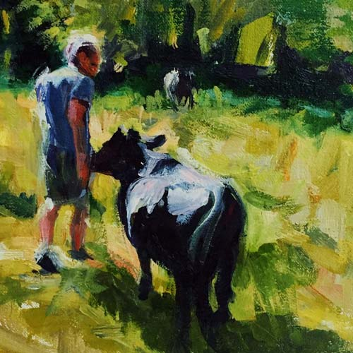 Farmer and Black Cow Oil Painting