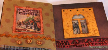 Pages 7 & 8 of Altered Art Circus Box Hidden Book