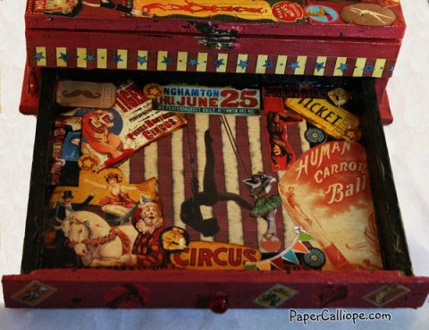 Drawer in Altered Art Circus Box Where Book is Hidden.
