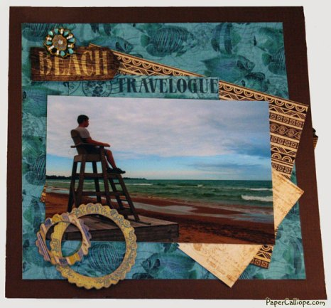 Scrapbook style layout for mixed media and altered art Retro TV