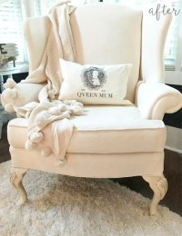 white painted wingback chair