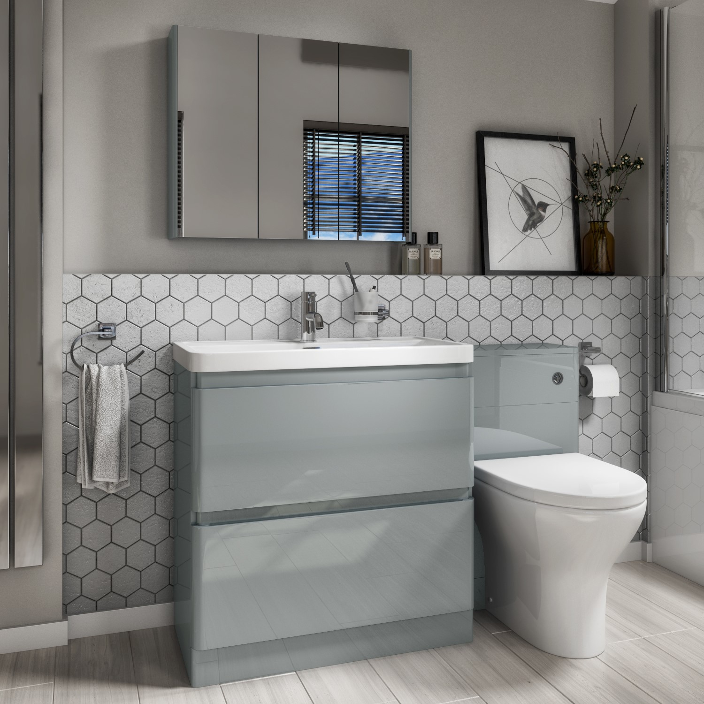 1300mm Toilet Basin Combination Unit 2 Drawer Light Grey Portland Better Bathrooms