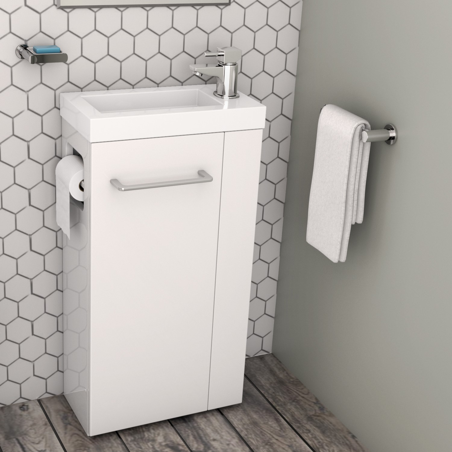 433mm Floor Standing Vanity Unit With Basin Toilet Roll Holder Virgo Better Bathrooms