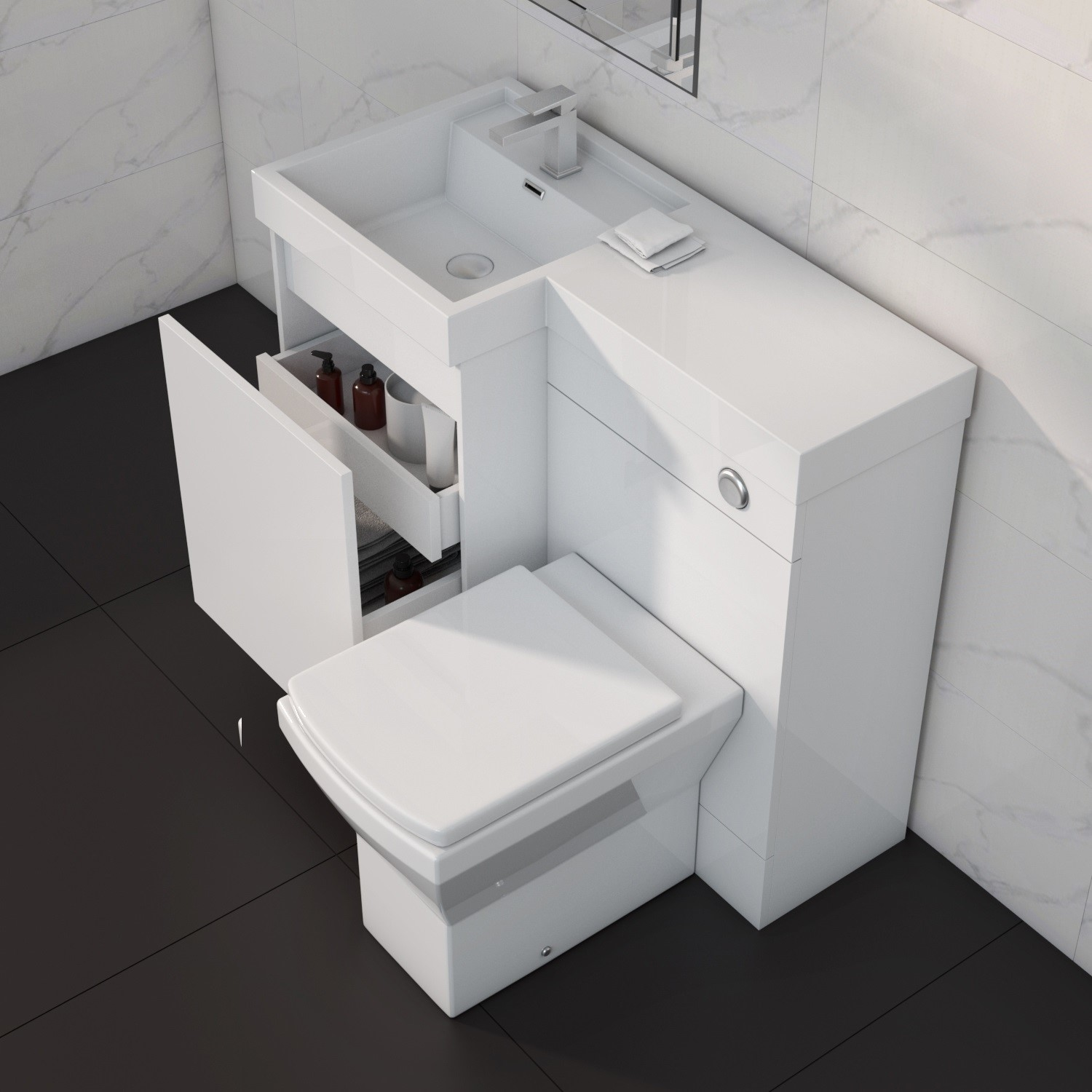 900mm toilet and basin combination unit 2 drawers white left hand agora