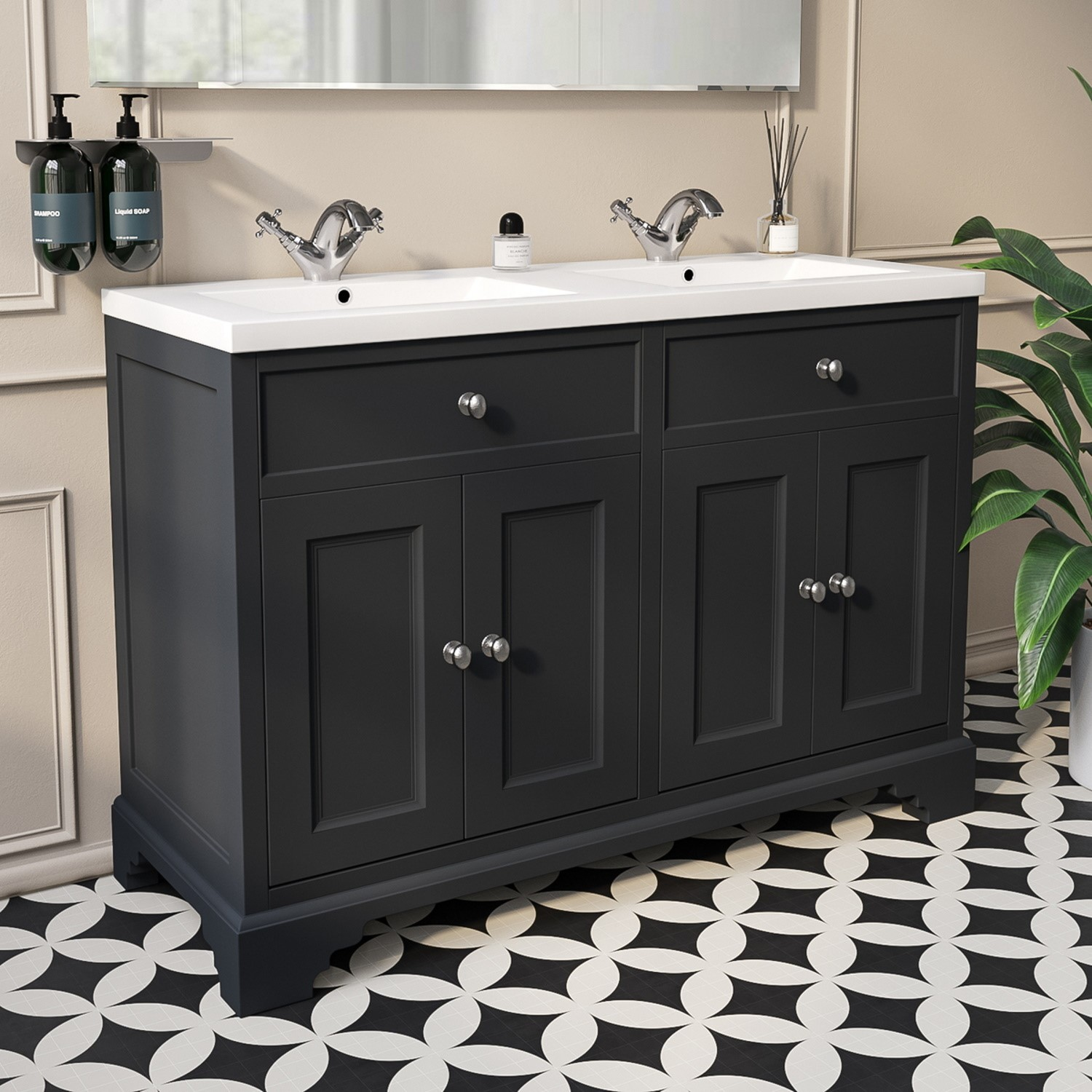1200mm grey freestanding double vanity unit with basin burford