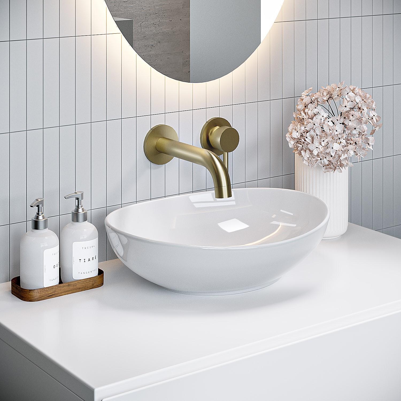 gloss white oval 405mm countertop basin shell