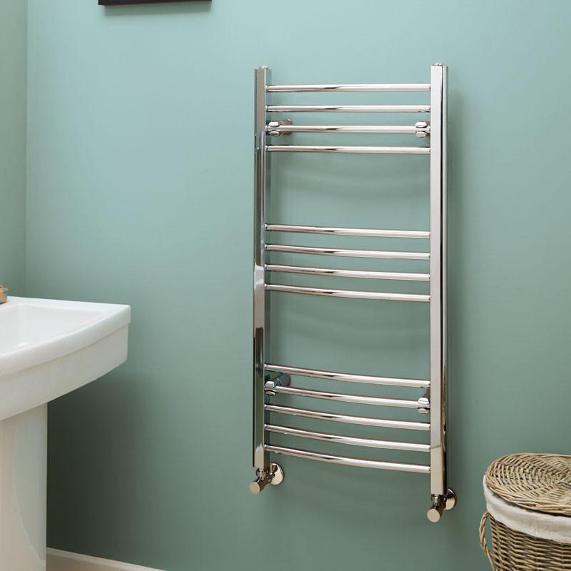 kitchen tiles flooring metal cabinets ikea eco heat 1000 x 500 curved chrome heated towel rail