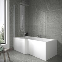 L Shaped 1675 Left Hand Shower Bath, Front Panel and 6mm ...