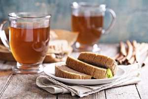Gingerbread warm and spicy loaf cake with hot tea