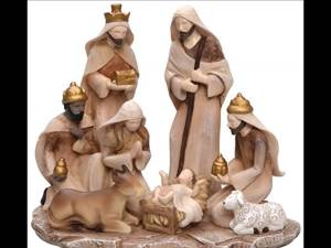 Nativity Scene Cream and Gold