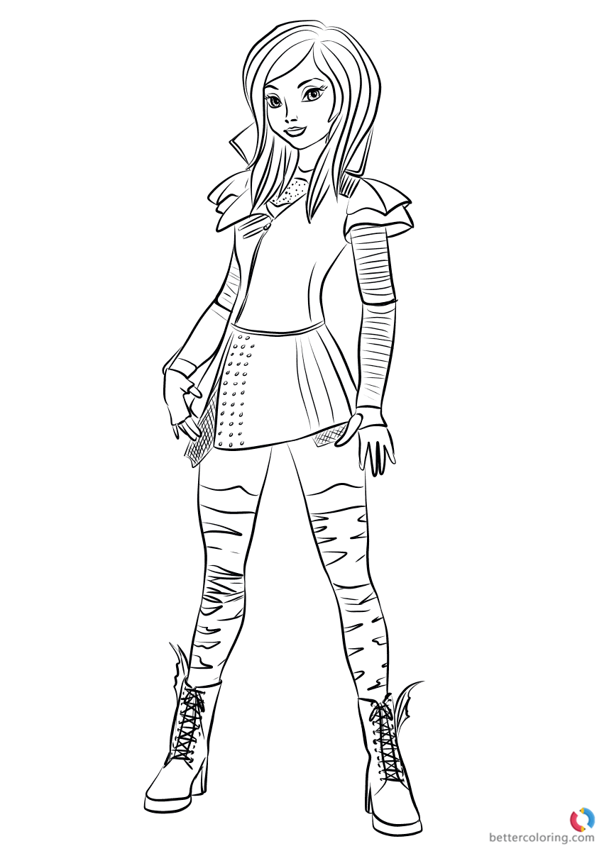Mal from Descendants 2 Coloring Pages Printable for Kids