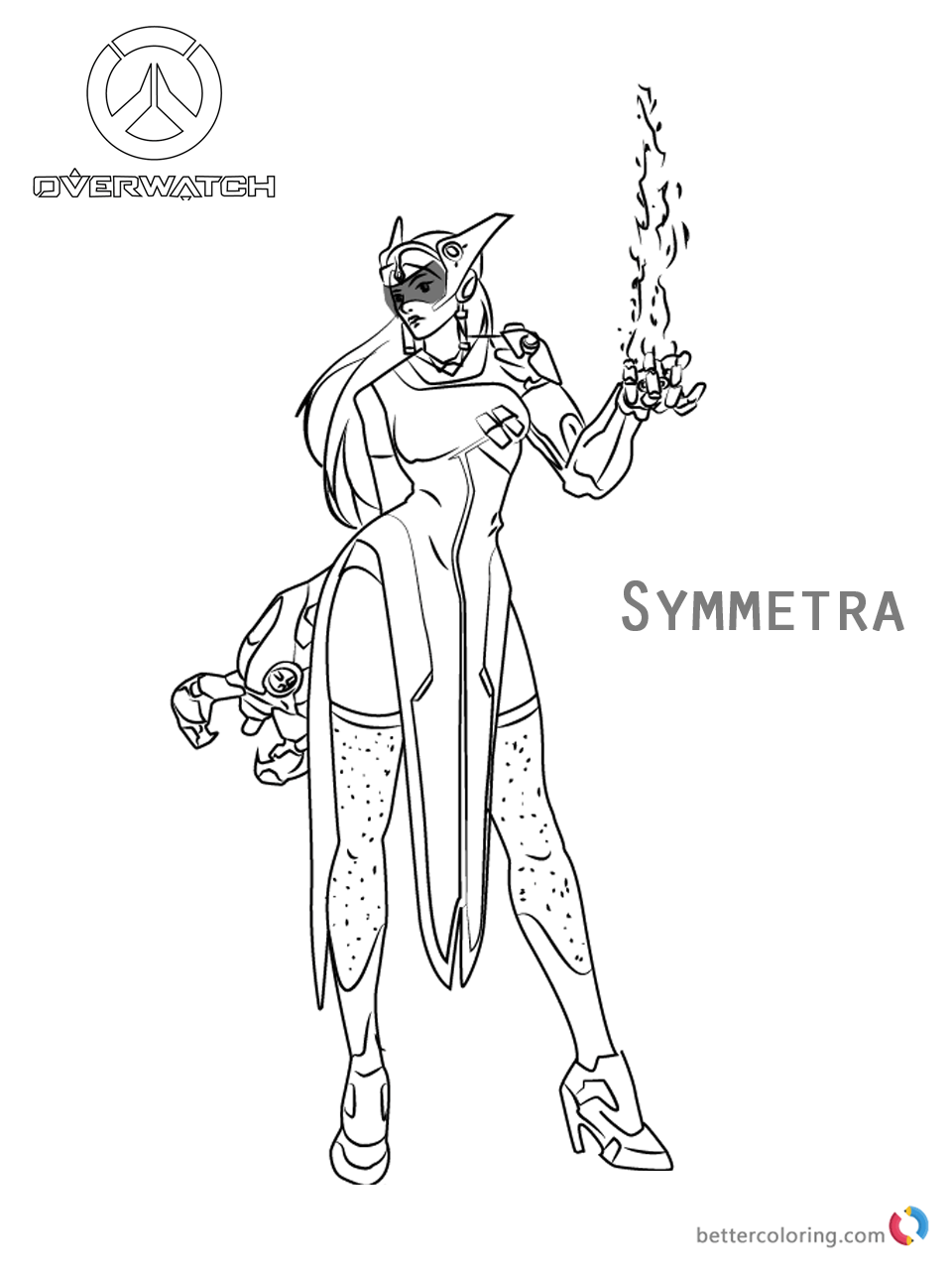 Symmetra From Overwatch Coloring Pages Free Printable