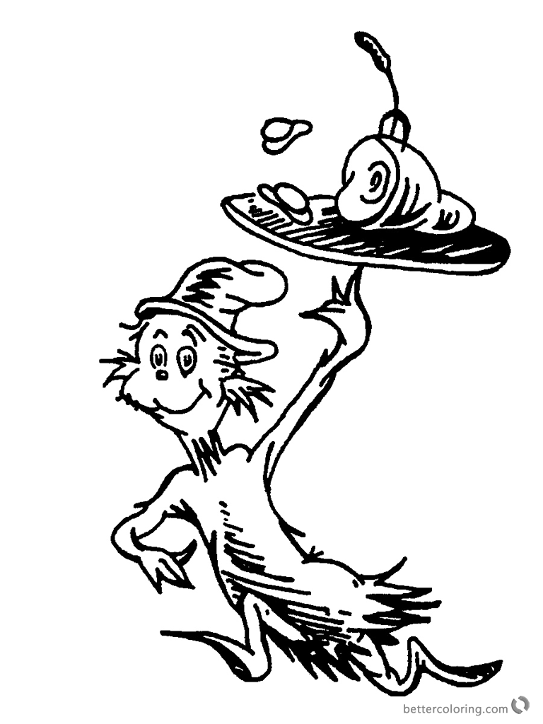 Dr Seuss Green eggs and Ham Coloring Pages Black and White