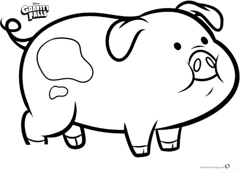 gravity falls coloring pages pig waddles  free printable