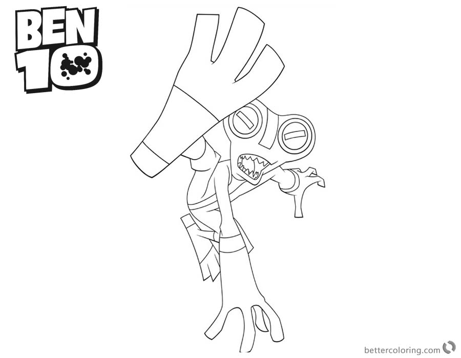 Ben 10 Coloring Pages Alien Force Grey Matter is Fighting