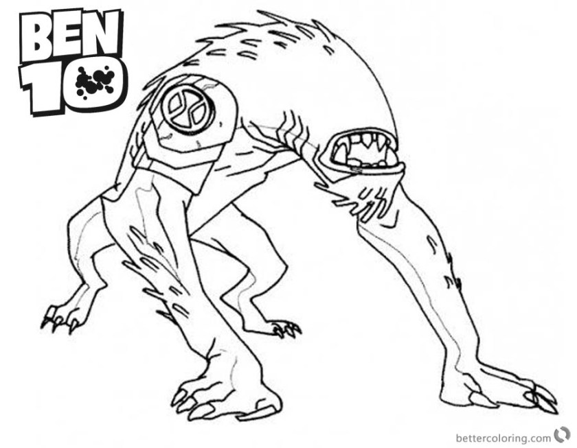 ben 10 coloring pages alien force wildmutt outline  free
