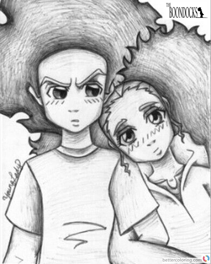 Cute Asf Wallpaper Boondocks Coloring Pages Drawing Of Huey And Jasmine