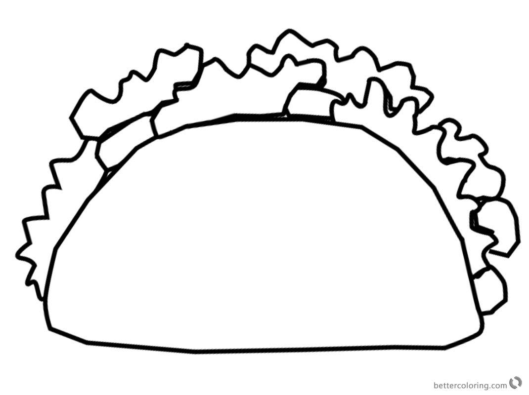 Mexican Taco Coloring Pages Black And White