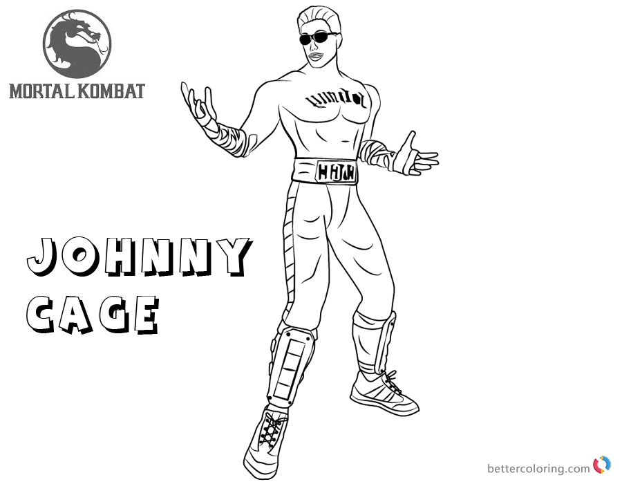 Comfortable Mortal Kombat Johnny Cage Free Coloring Pages