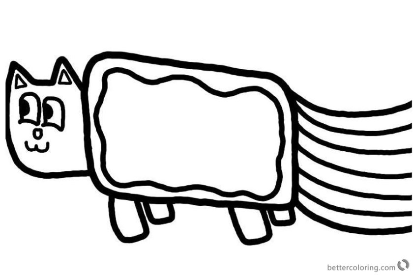 nyan cat coloring pages simple for kids  free printable
