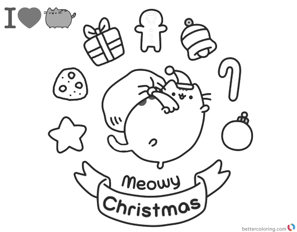 Pusheen Coloring Pages Christmas Also Coloring Pages