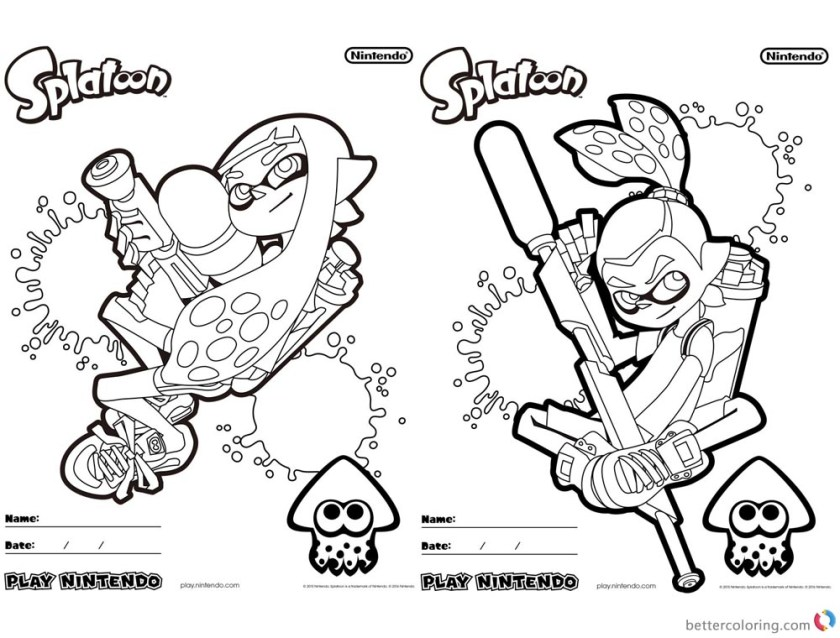 splatoon coloring pages coloring sheet  free printable