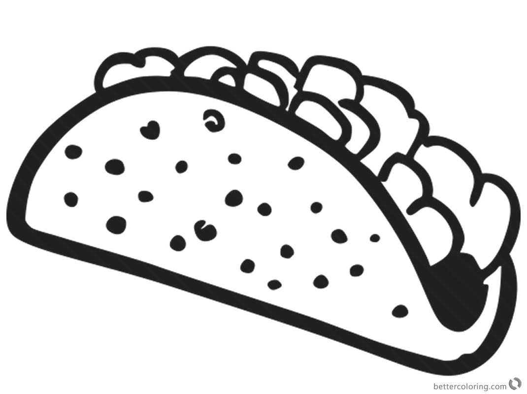 Taco Coloring Page Black And White For Kids