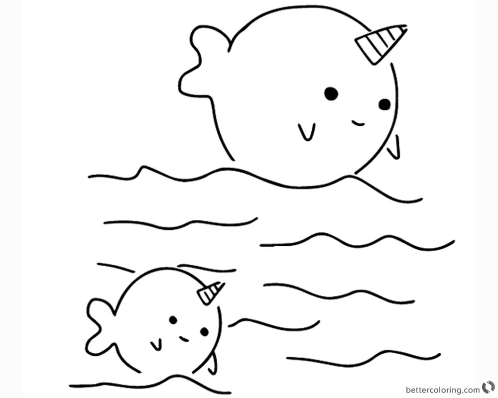 Beautiful two cute narwhals coloring pages free printable coloring