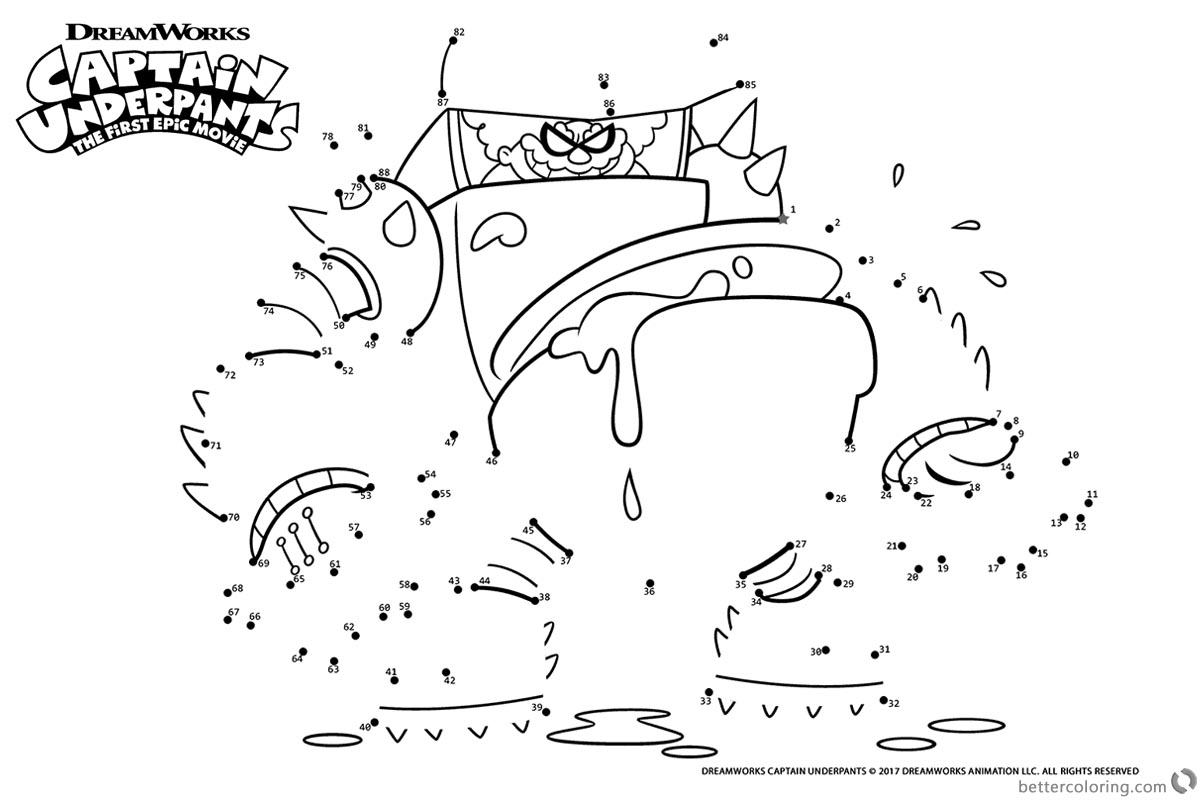Captain Underpants Coloring Pages Connect the Dots by