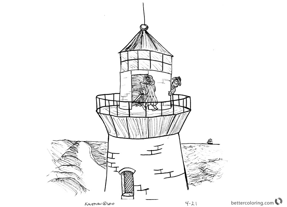 Lighthouse Coloring Pages Playing on the Lighthouse Humour