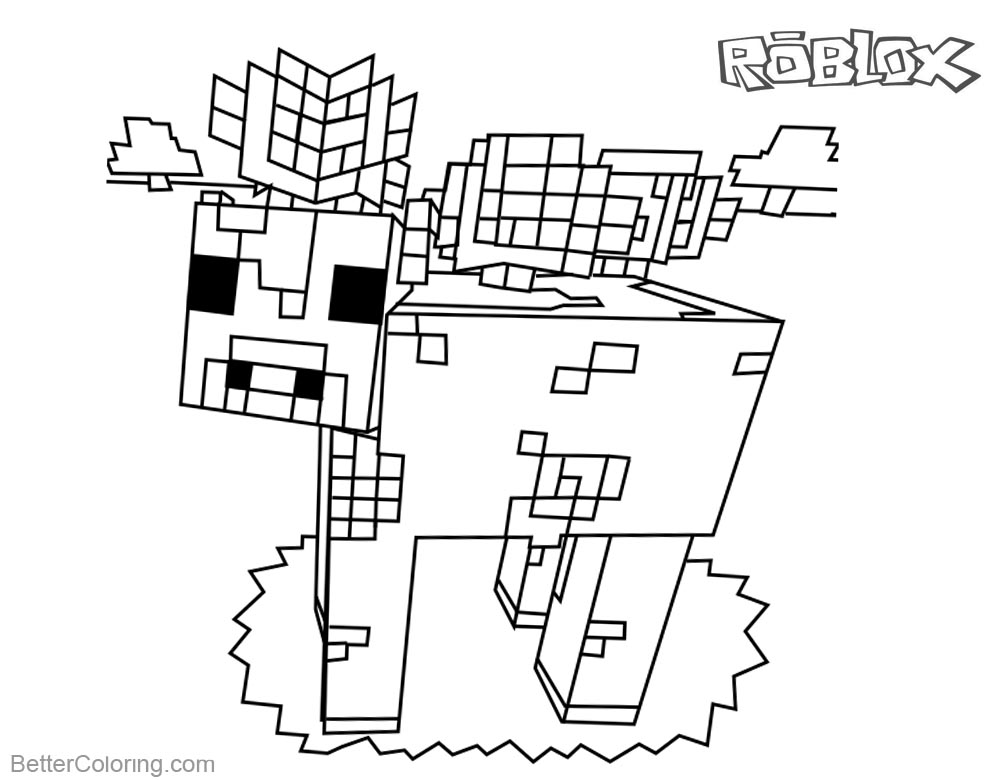 Mooshroom from Minecraft Coloring Pages Roblox Characters