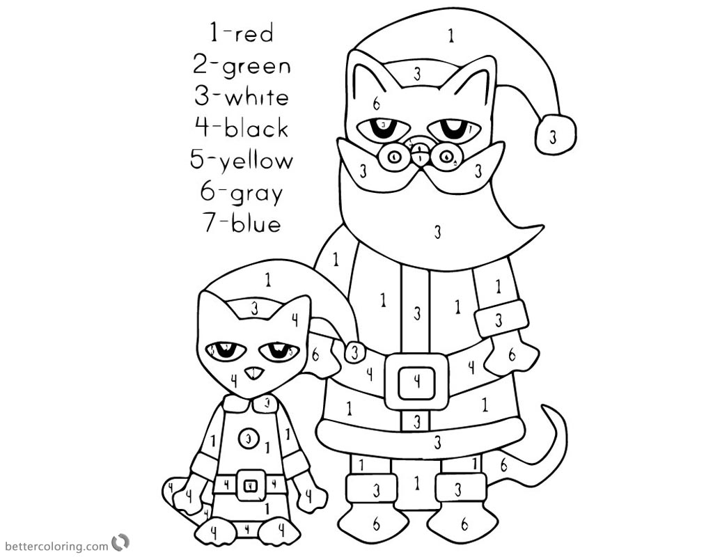 Pete The Cat Coloring Pages Christmas Color By Number