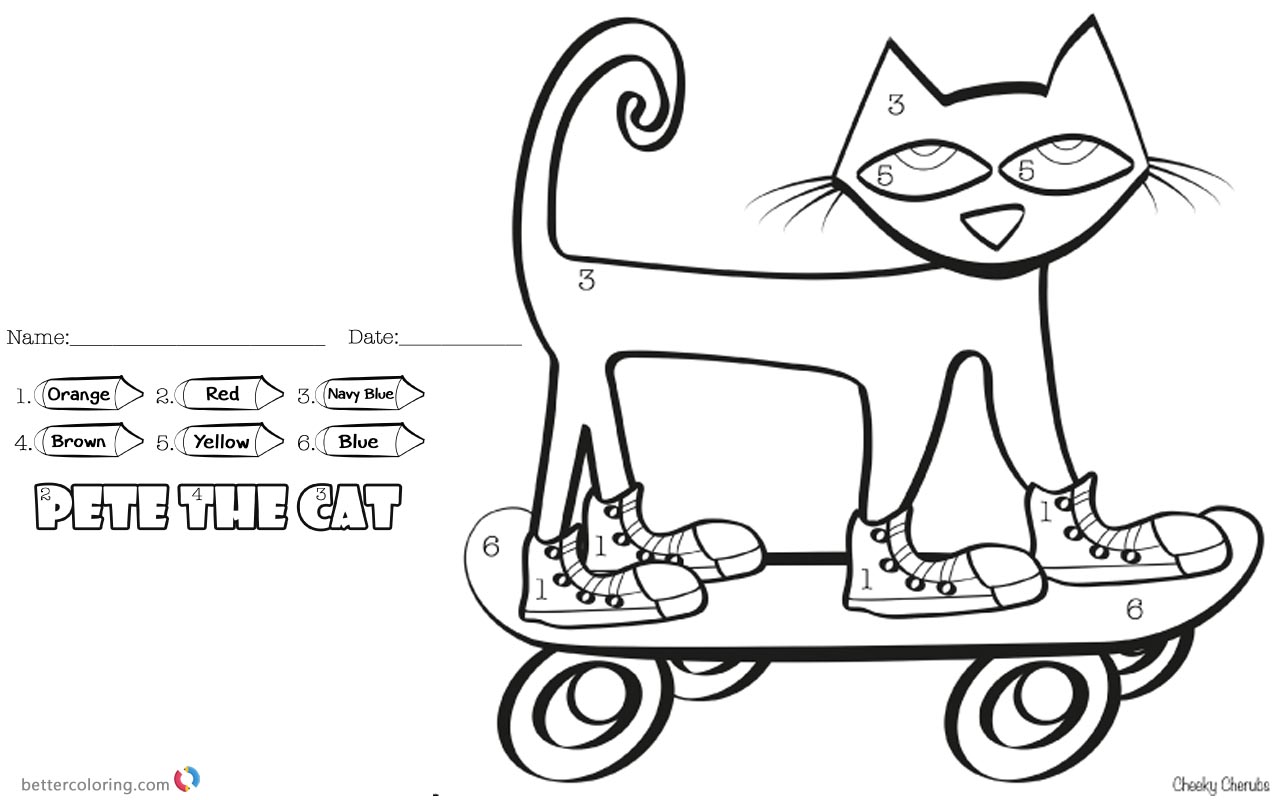Pete The Cat Coloring Pages Color By Number Skateboard