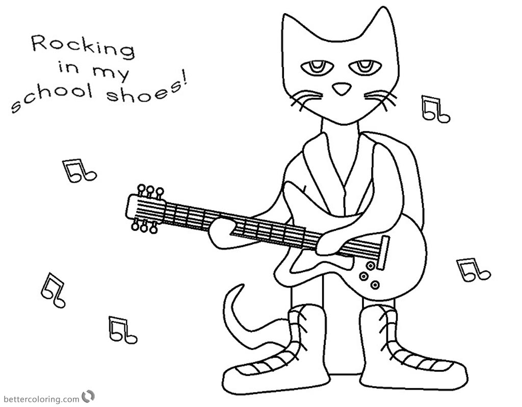 Pete The Cat Coloring Pages Rocking In My School Shoes