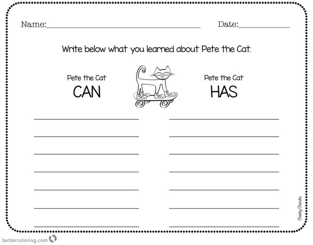 Pete The Cat Worksheet Subtration