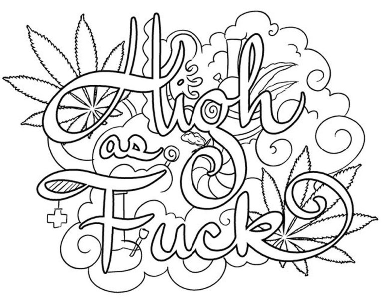 Weed Coloring Pages 420 Swear Words - Free Printable ... | free printable coloring pages for adults only swear words