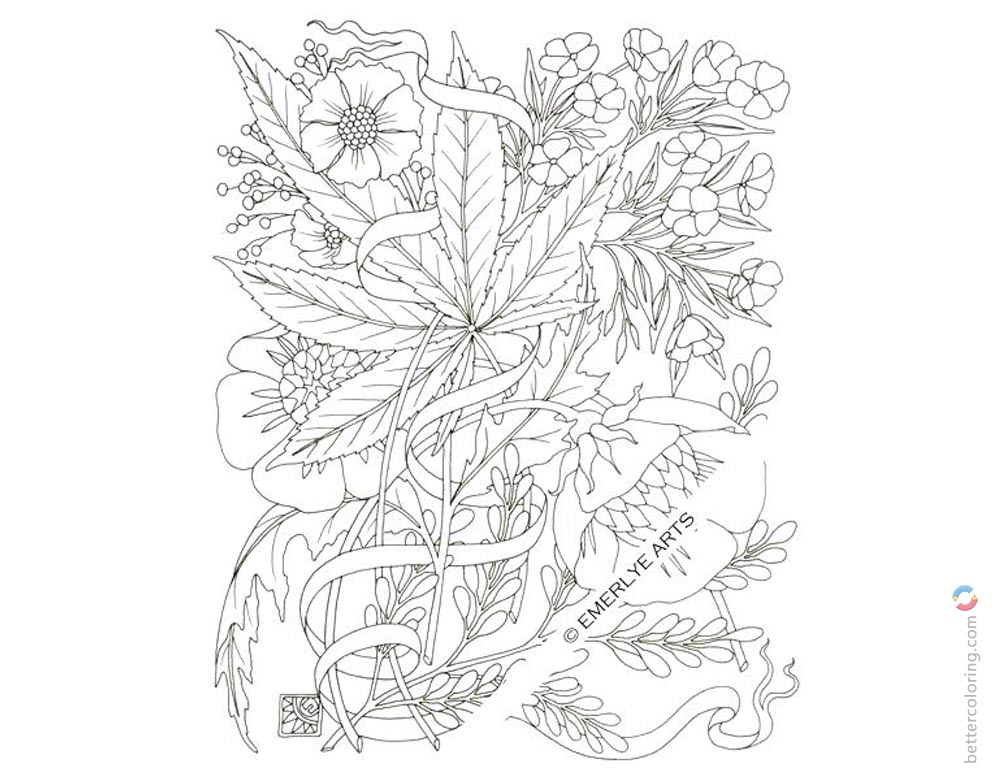 Weed Coloring Pages Cannabis Tattoos Free Printable