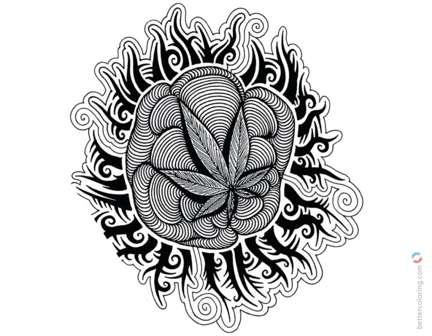 weed coloring pages tattoos picture  free printable