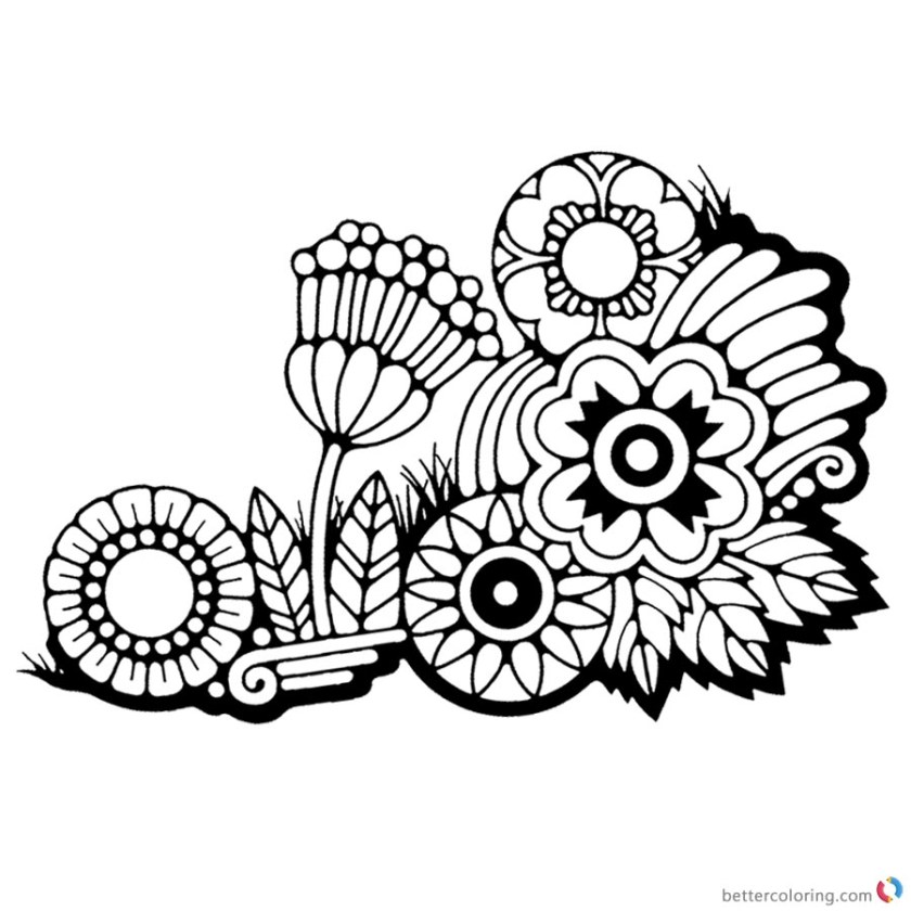 weed coloring pages weed and flowers drawing  free