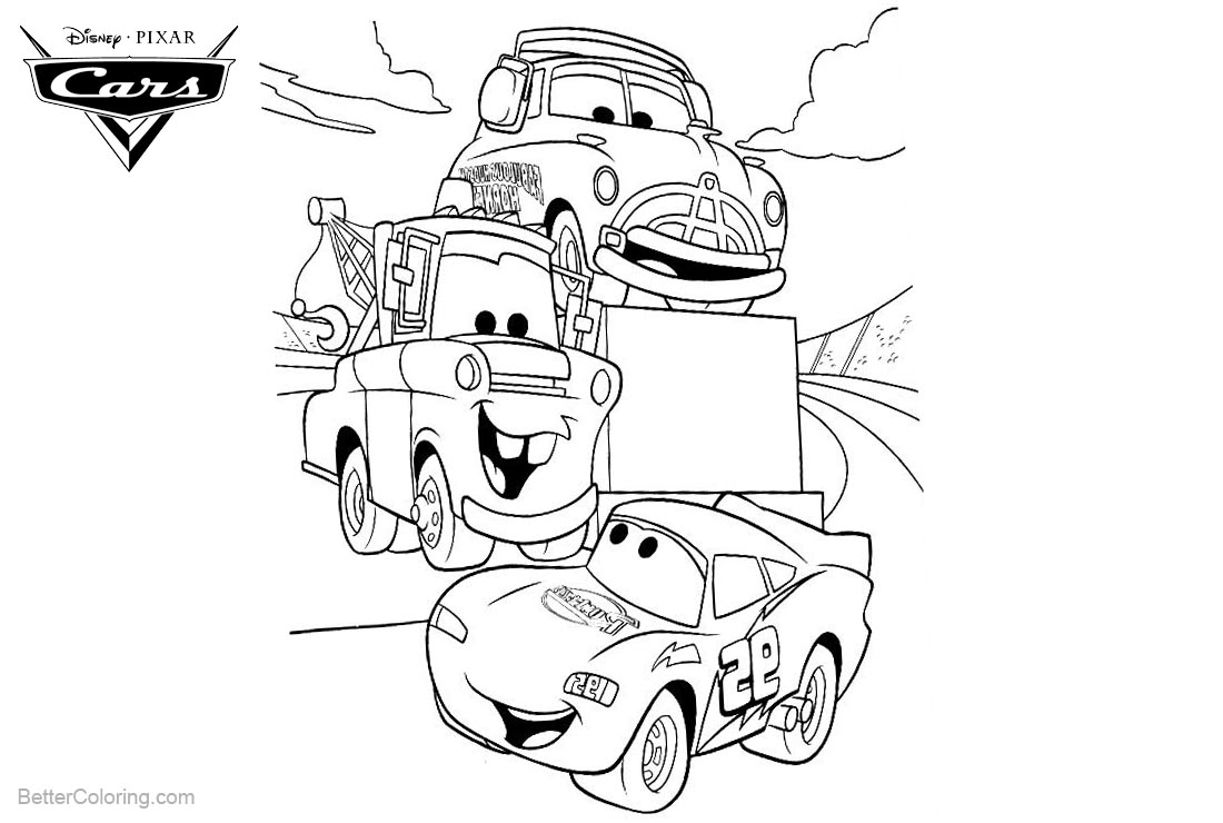 Cars Pixar Coloring Pages Lightning McQueen Luigi and Tow