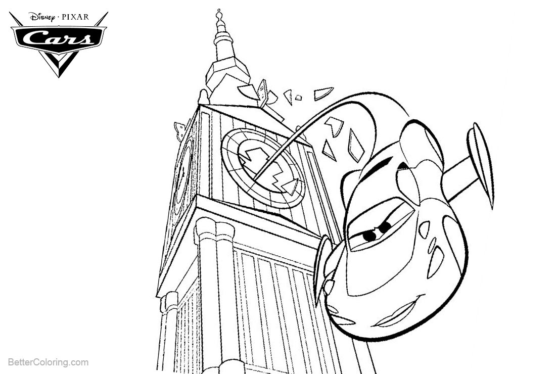 Cars Pixar Coloring Pages Lightning McQueen in London