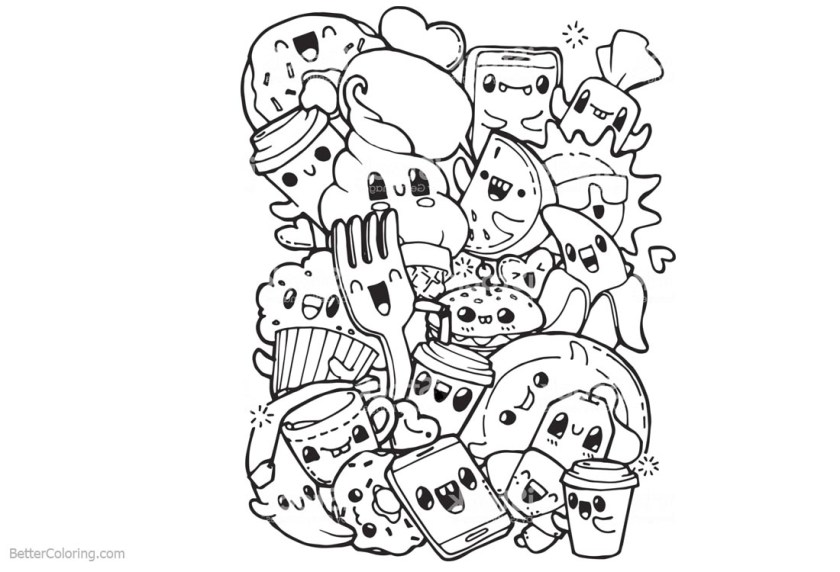 cute food coloring pages clipart  free printable coloring