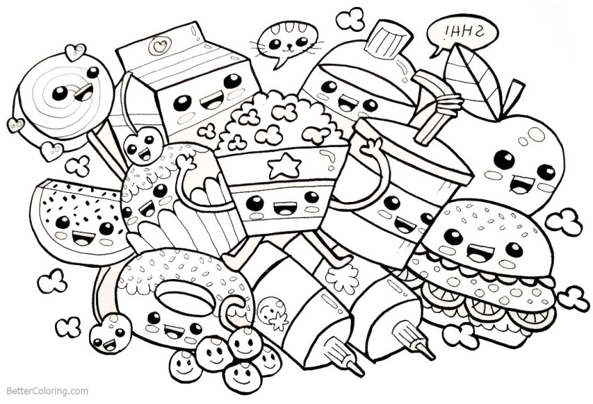cute food coloring pages many snacks  free printable