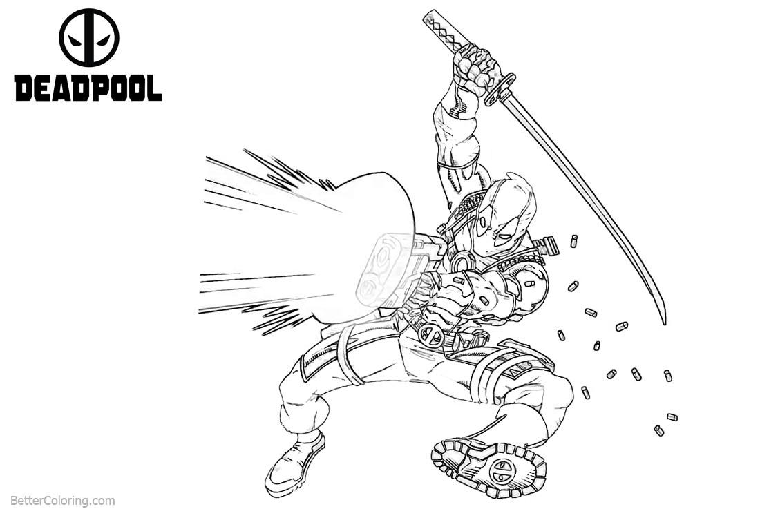 Deadpool Coloring Pages Powerful Gun Shoting Free